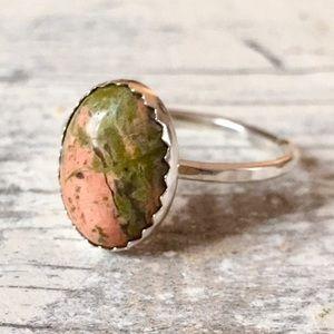 sterling silver unakite jasper ring ✨